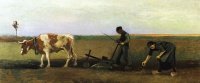Винсент  ван Гог  Ploughman with Woman Planting Potatoes