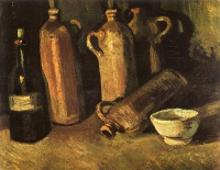 Винсент  ван Гог  Still Life with Four Stone Bottles, Flask and White Cup