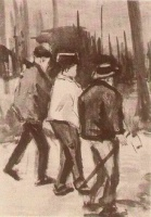 Винсент  ван Гог  Three Woodcutters Walking