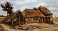 Винсент  ван Гог  Cottage with Decrepit Barn and Stooping Woman