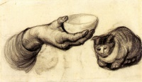 Винсент  ван Гог  Hand with Bowl and a Cat
