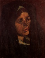 Винсент  ван Гог  Head of a Peasant Woman in a Green Shawl