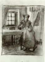 Винсент  ван Гог  Interior with Peasant Woman Sewing
