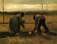 Винсент  ван Гог  Peasant and Peasant Woman Planting Potatoes