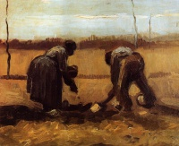 Винсент  ван Гог  Peasant Man and Woman Planting Potatoes