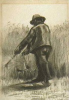Винсент  ван Гог  Peasant with Sickle, Seen from the Back