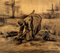 Винсент  ван Гог  Peasant Woman Lifting Potatoes