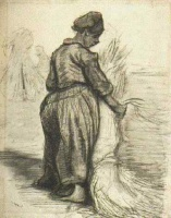 Винсент  ван Гог  Peasant Woman, Binding a Sheaf of Grain
