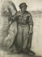 Винсент  ван Гог  Peasant Woman, Carrying a Sheaf of Grain