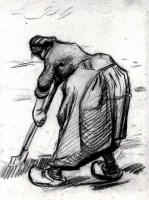 Винсент  ван Гог  Peasant Woman, Digging, Seen from the Side