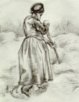 Винсент  ван Гог  Peasant Woman, Tossing Hay, Seen from the Back