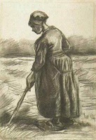 Винсент  ван Гог  Peasant Woman, Working with a Long Stick