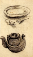 Винсент  ван Гог  Plate with Cutlery and a Kettle
