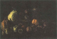 Винсент  ван Гог  Still life with a basket of apples and two pumpkins