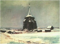 Винсент  ван Гог  The Old Cemetery Tower at Nuenen in the Snow