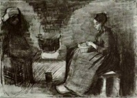 Винсент  ван Гог  Woman, Sitting by the Fire, Peeling Potatoes, Sketch of a Second Figure