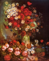 Винсент  ван Гог  Vase with Poppies, Cornflowers, Peonies and Chrysanthemums