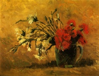 Винсент  ван Гог  Vase with Red and White Carnations on a Yellow Background