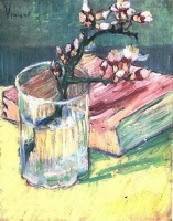 Винсент  ван Гог  Blossoming Almond Branch in a Glass with a Book