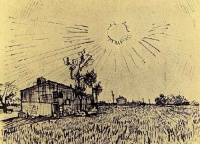 Винсент  ван Гог  Field with Houses under a Sky with Sun Disk