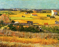 Винсент  ван Гог  Harvest at La Crau, with Montmajour in the Background