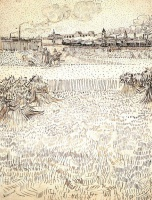 Винсент  ван Гог  Wheat Field with Sheaves and Arles in the Background