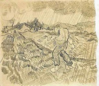 Винсент  ван Гог  Enclosed Field with a Sower in the Rain