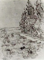 Винсент  ван Гог  Cypresses with Four People Working in the Field