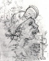 Винсент  ван Гог  Head of a Man with a Hat, a Perspective Frame, and Other Sketches