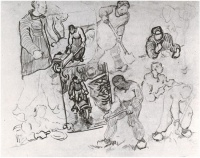 Винсент  ван Гог  Sheet with Sketches of Working People