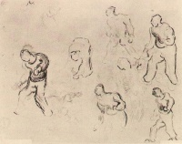 Винсент  ван Гог  Six Sketches of Figures, Among Others a Man Sowing Wheat
