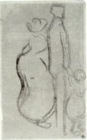 Винсент  ван Гог  Sketch of a Couple Walking with a Child