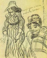 Винсент  ван Гог  Sketch of a Lady with Striped Dress and Hat and of Another Lady, Half-Figure