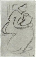 Винсент  ван Гог  Sketch of a Woman with a Baby in her Lap