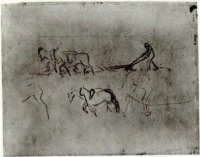 Винсент  ван Гог  Sketches of Peasant Plowing with Horses