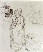 Винсент  ван Гог  Study of a Woman Standing, Two Heads, Another Figure