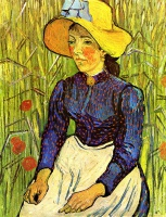 Винсент  ван Гог  Young Peasant Girl in a Straw Hat sitting in front of a wheatfield