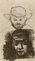 Винсент  ван Гог  Two Heads Man with Beard and Hat Peasant with Cap